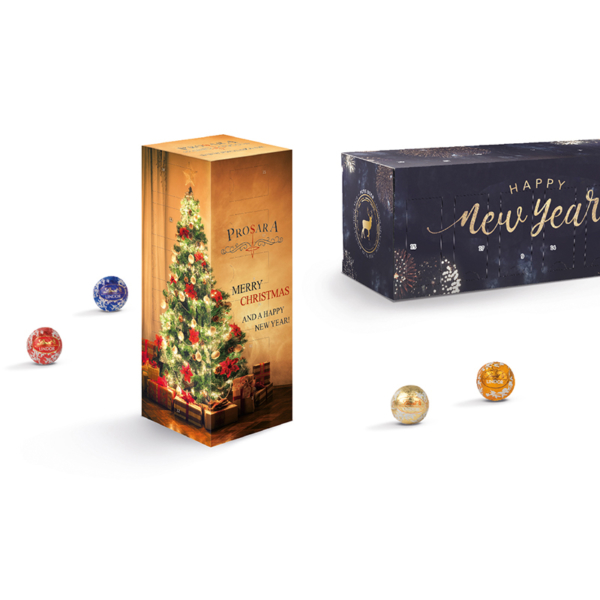 tower advent calendar with mini chocolate balls